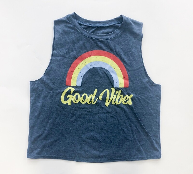 Good Vibes crop muscle tank