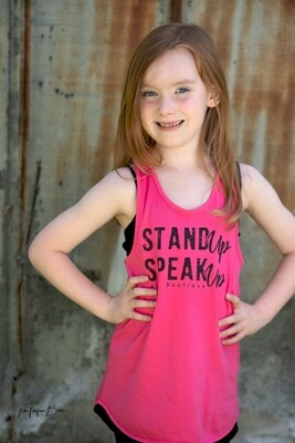 Stand Up Speak Up Kids Pink Racerback Tank Top