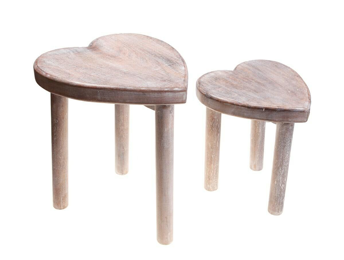 Sass & Belle - Wooden Heart Stool Large