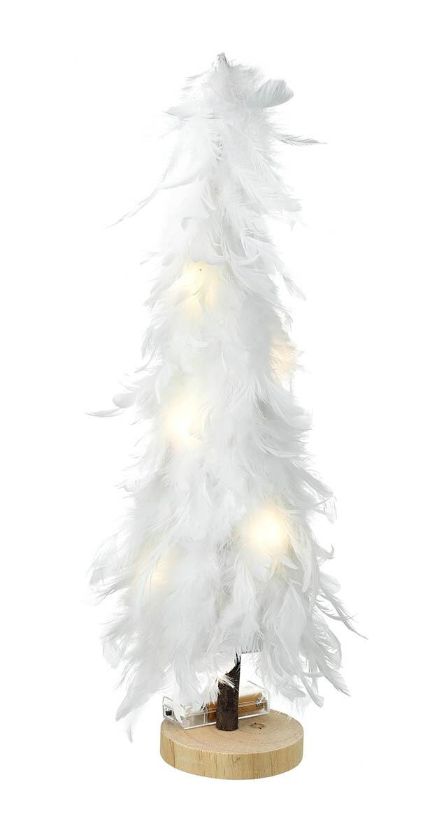 Large white feather LED tree