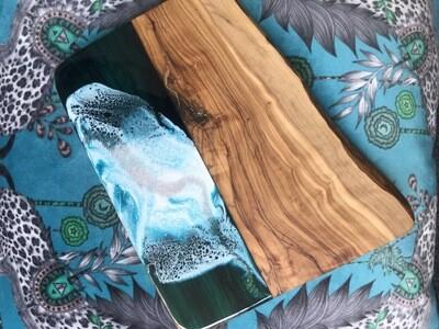 Olive Wood serving Board - Teal