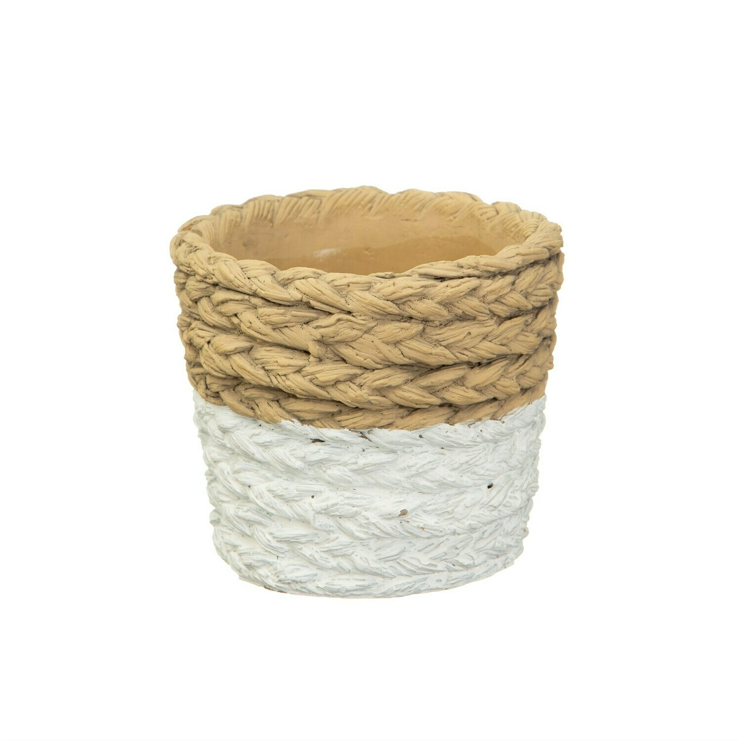 White Dipped Cement Planter