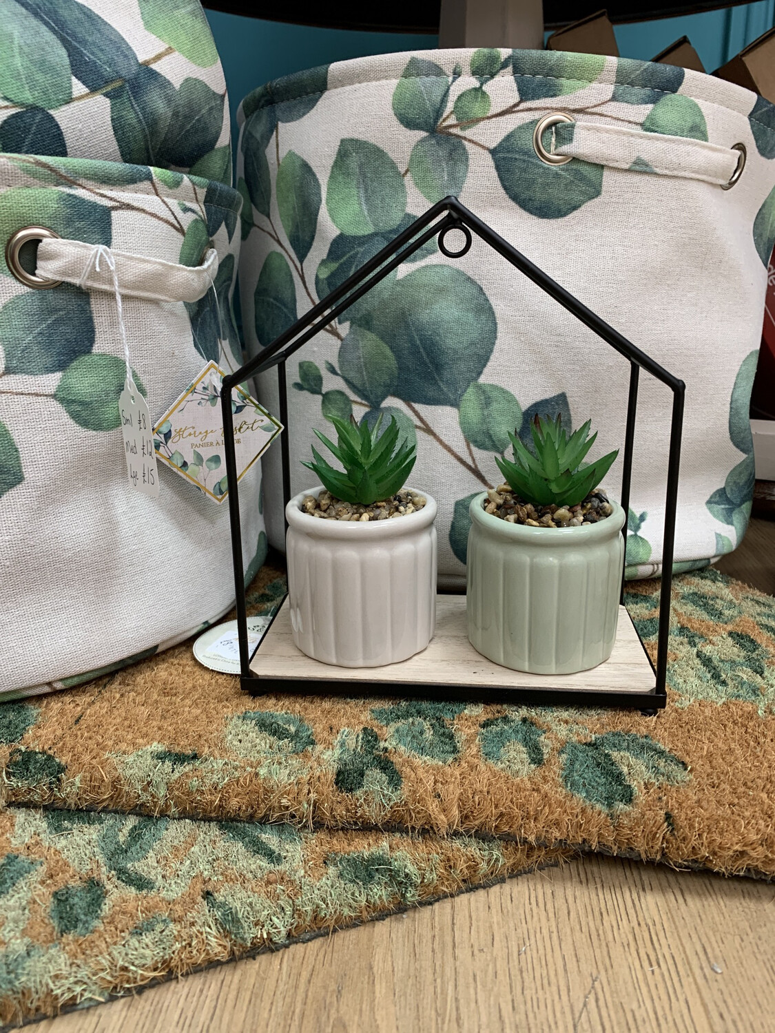 Mini Potted Faux Succulent Green