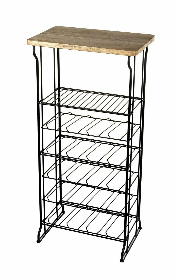 Metal Wine Rack with wooden top