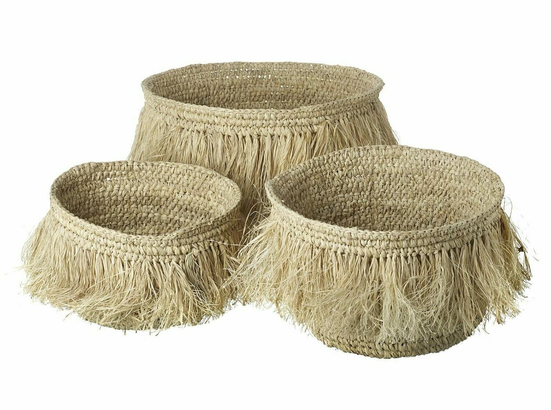 Natural Raffia Hula Basket - Small