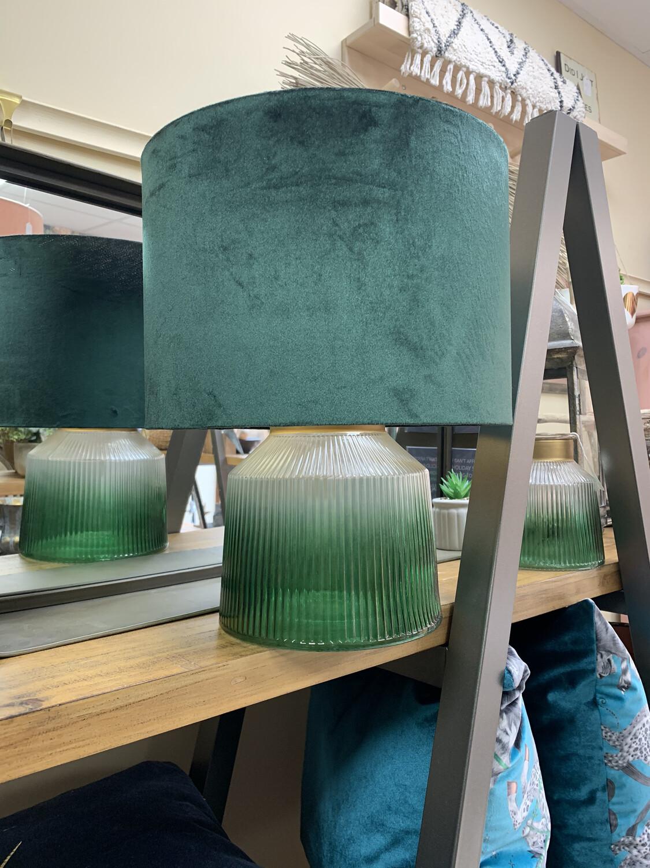 Green Velvet Lampshade with Gold Inner