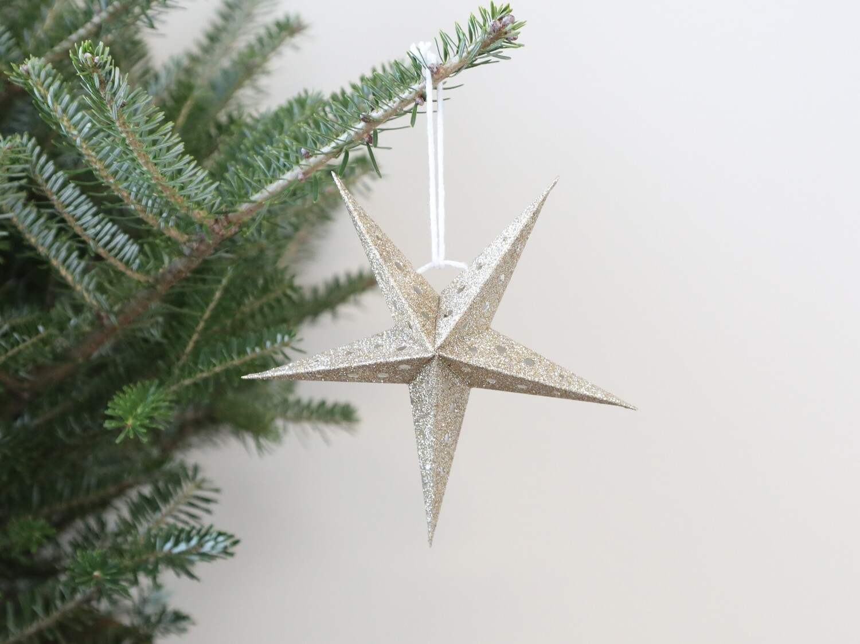 Vintage Champagne paper hanging star