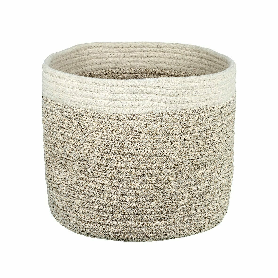 Taupe and Cream Storage Basket - Large