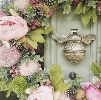 Brass Bee door knocker in Nickel Finish