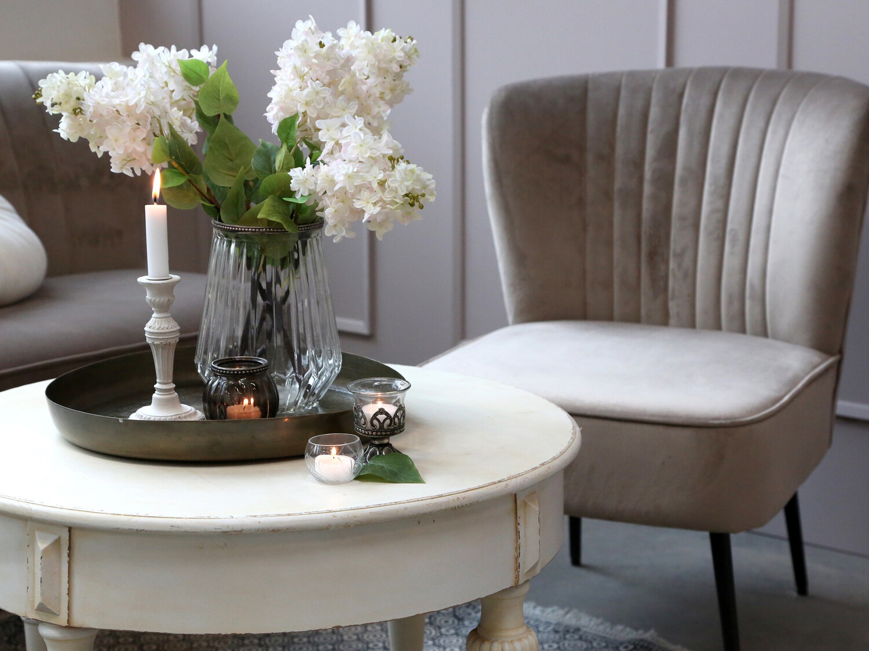 Velour Armchair - Latte Occasional Chair