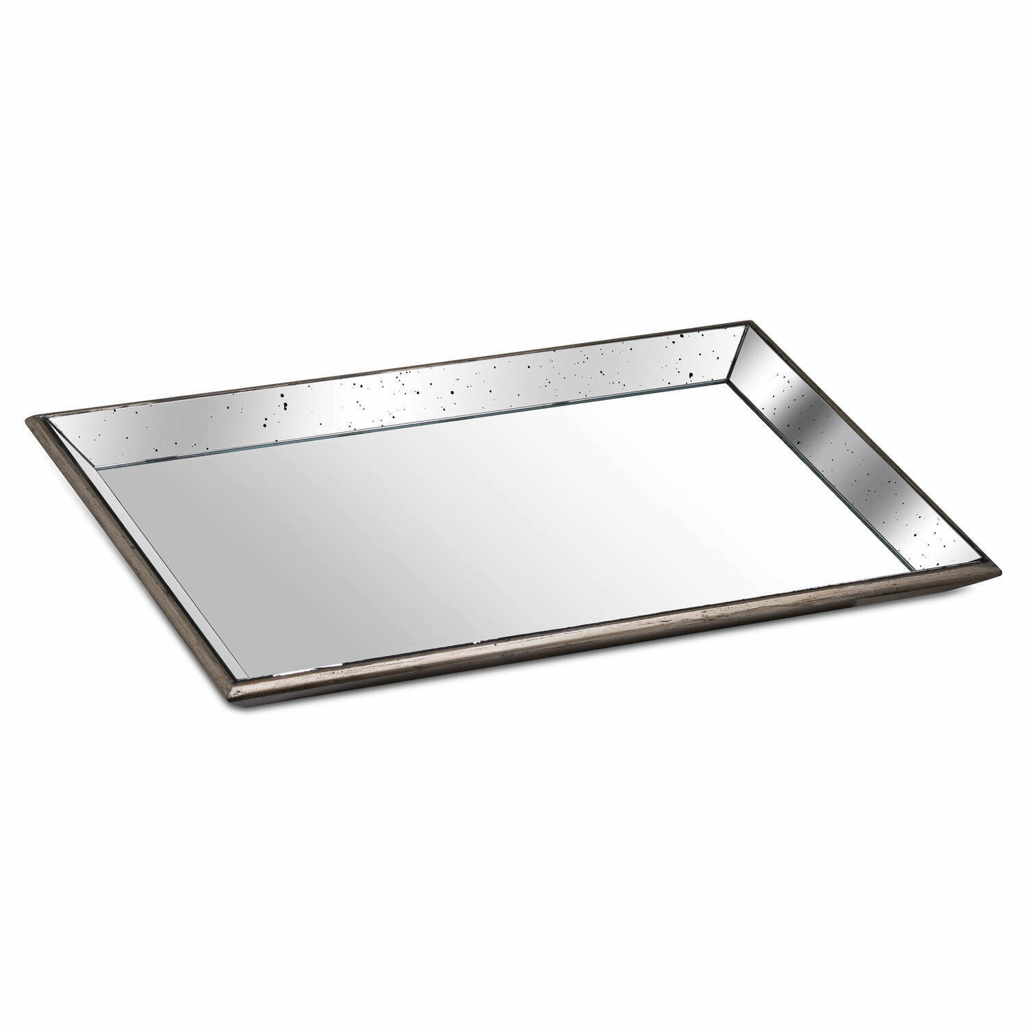 Distressed Mirrored Tray with wooden base