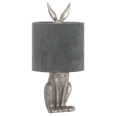 Silver Table Lamp With Velvet Shade