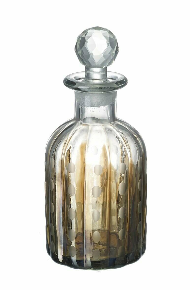 Glass Bottle Clear/Gold Glass - Medium