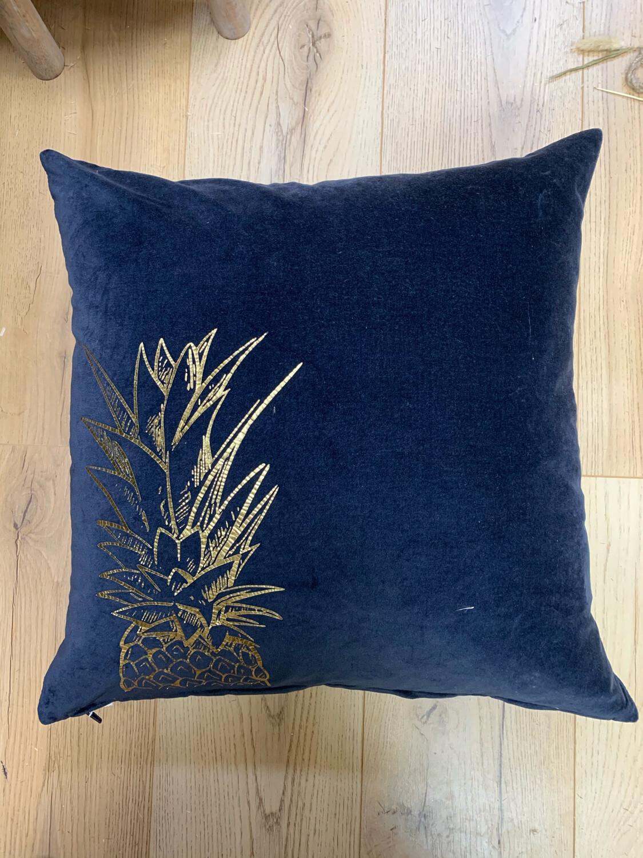 Pineapple Navy Velvet Cushion