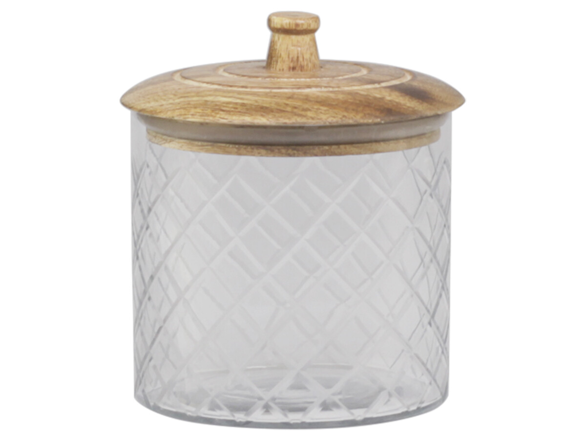 Small Mango Wood Storage Jar