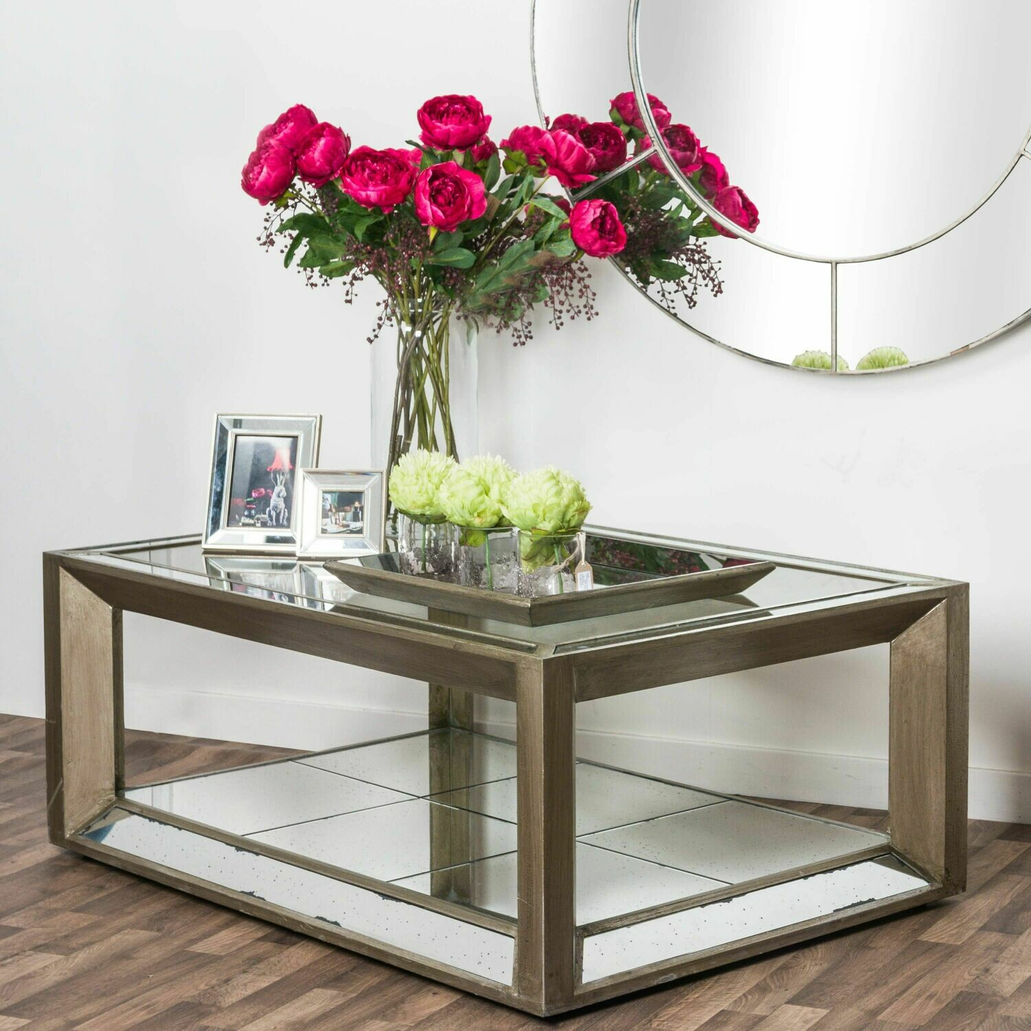 Distressed Large Mirrored Tray with wooden base