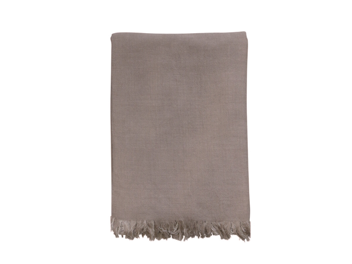 Taupe Blanket/Throw with Fringe
