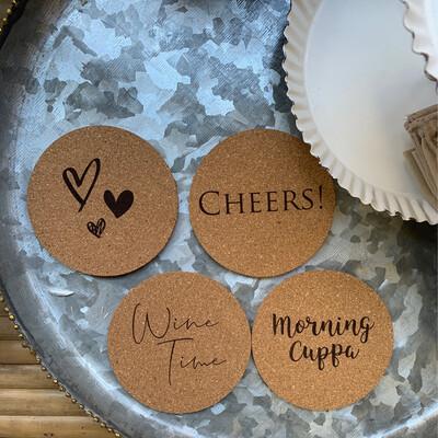 Cork Coasters Set Of 4