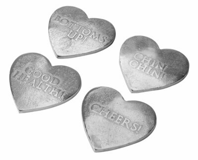 Silver Heart Coaster Set of 4