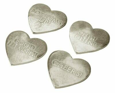 Gold Heart Coaster Set of 4