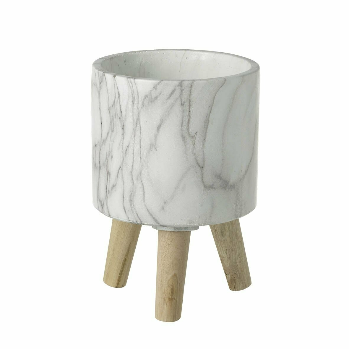 Marble Planter Grey & White