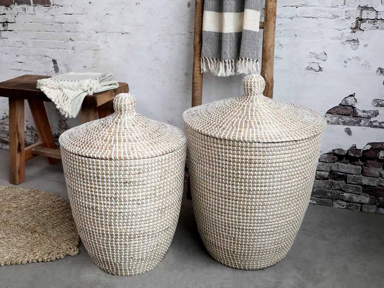 White Wicker Laundry Basket - Small