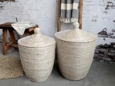 White Wicker Laundry Basket - Large