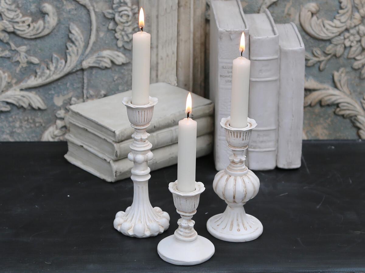 Antique Cream Candlestick - Short