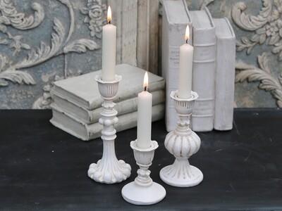 Antique Cream Candlestick - Tall