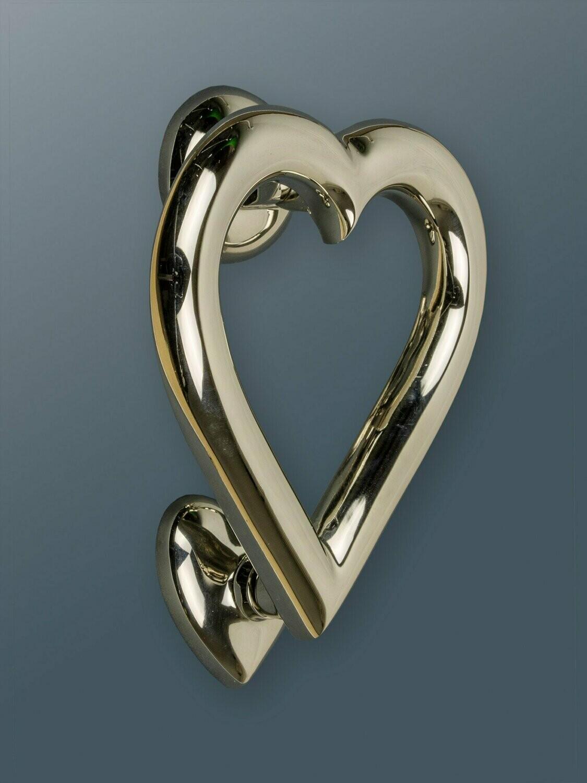 Brass heart door knocker in Nickel Finish