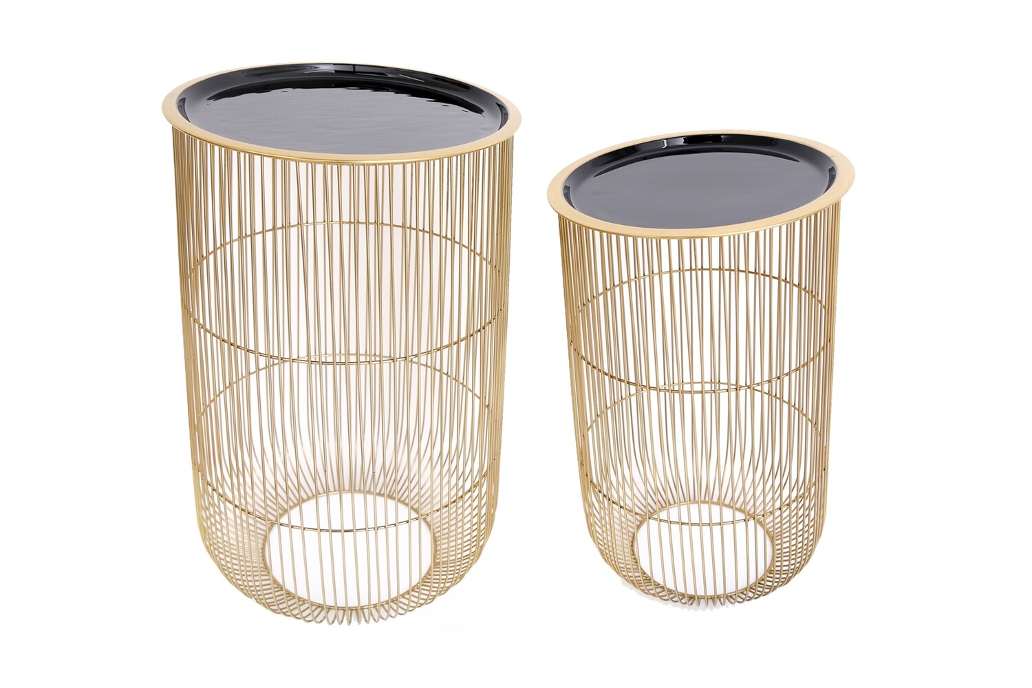 Gold and Black Wire Side Tables