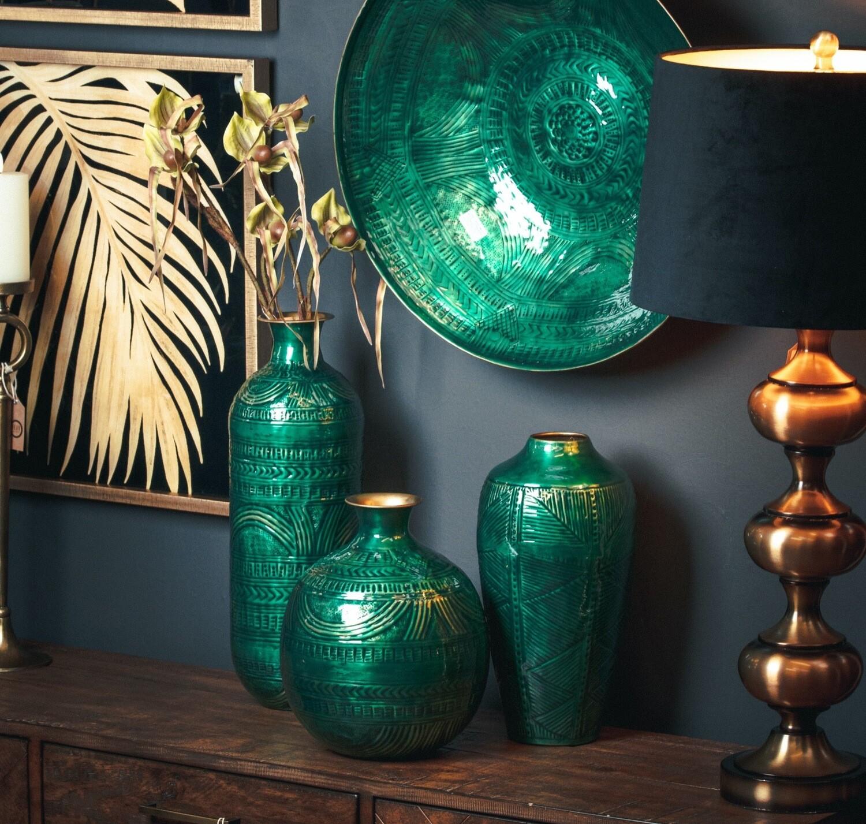 Aztec Brass Round Green Vase