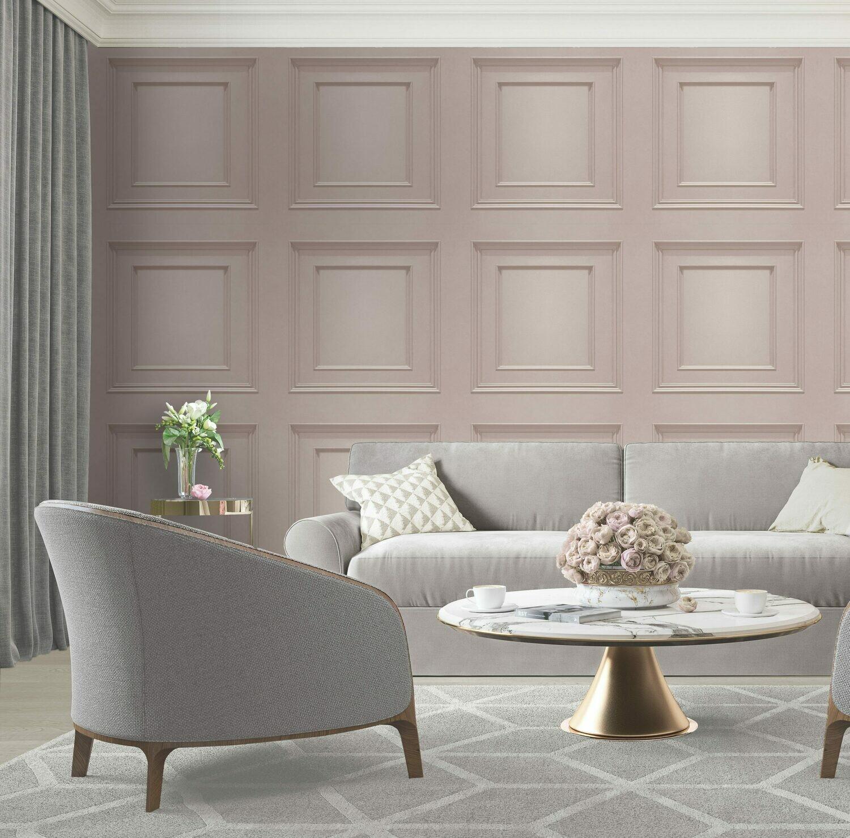 Amara Panelling Soft Pink Wallpaper