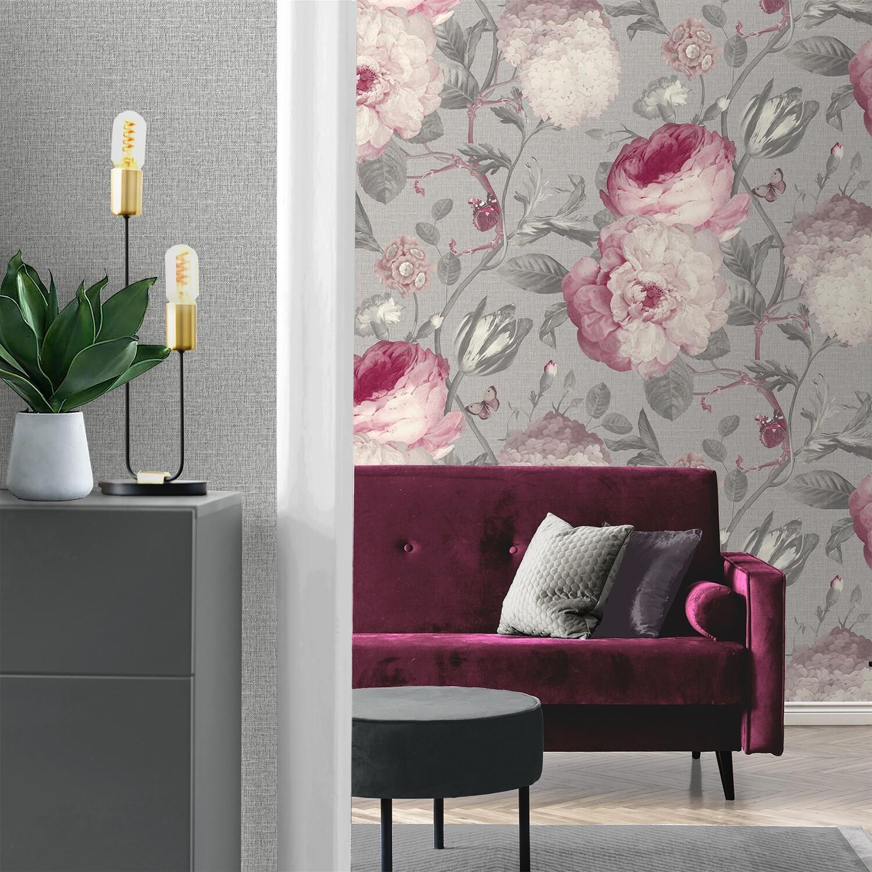 Giorgio Giant Peony Soft Silver Wallpaper