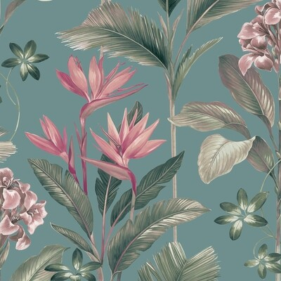 Oliana Teal Floral Wallpaper