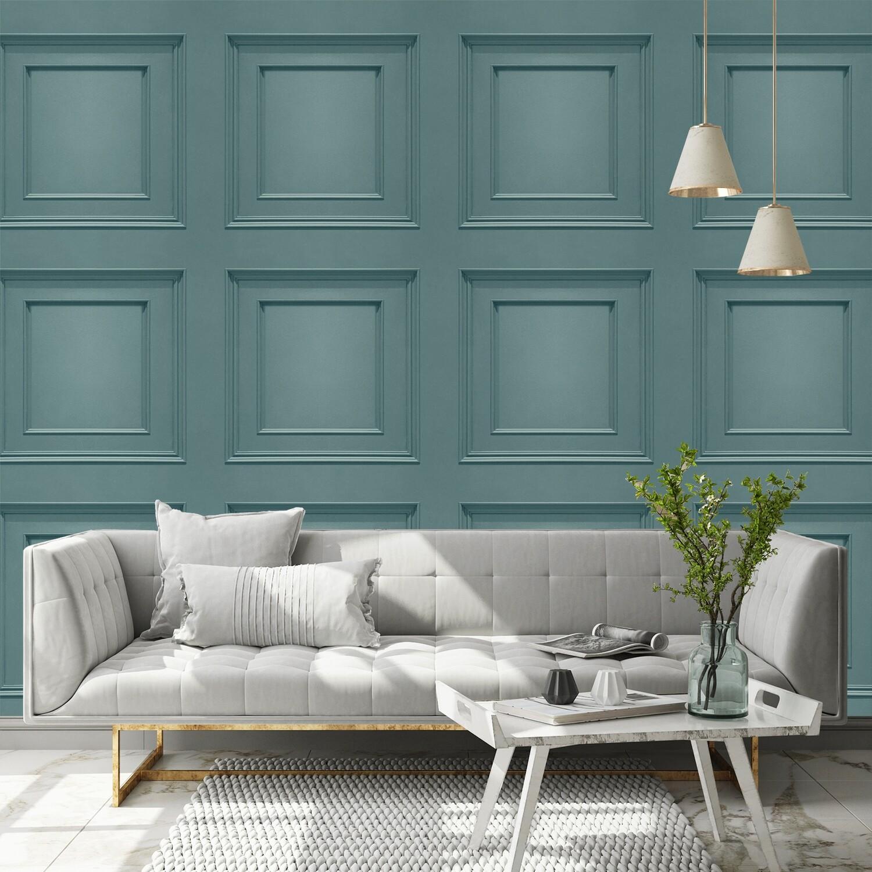 Oliana Panelling Teal Wallpaper