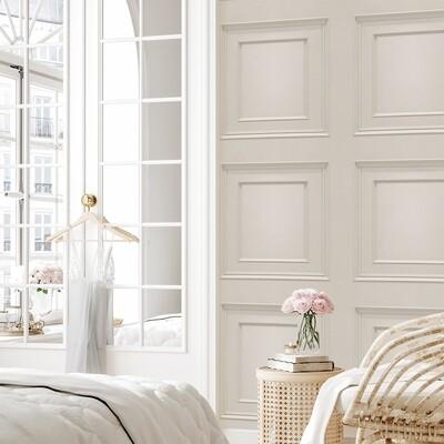 Oliana Panelling Cream Wallpaper