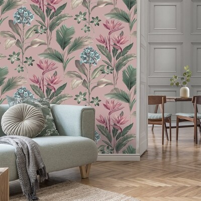 Oliana Pink Floral Wallpaper