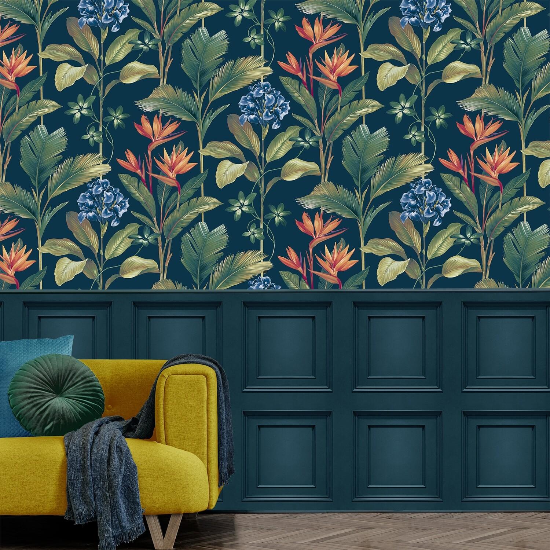 Oliana Floral Navy Wallpaper