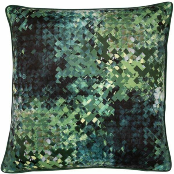 Green Pixelated Velvet Cushion