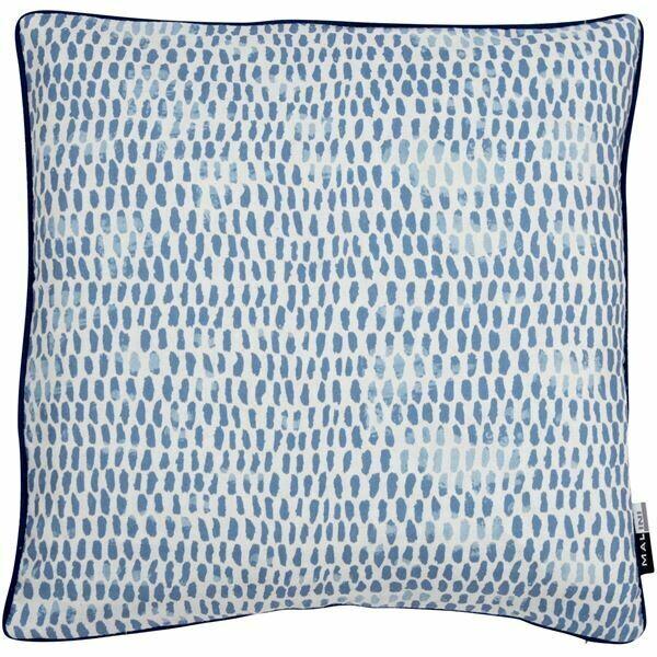 Linen Navy Raindrops Cushion