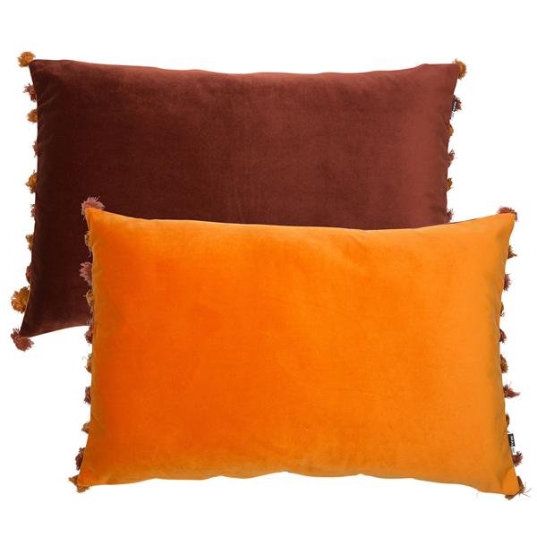 Large Reversible Wine & Rust Velvet Cushion