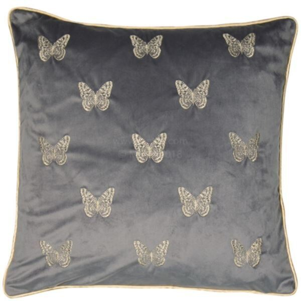 Butterfly Grey/gold Cushion