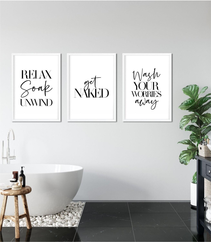 Trio Bathroom Wall Art Prints