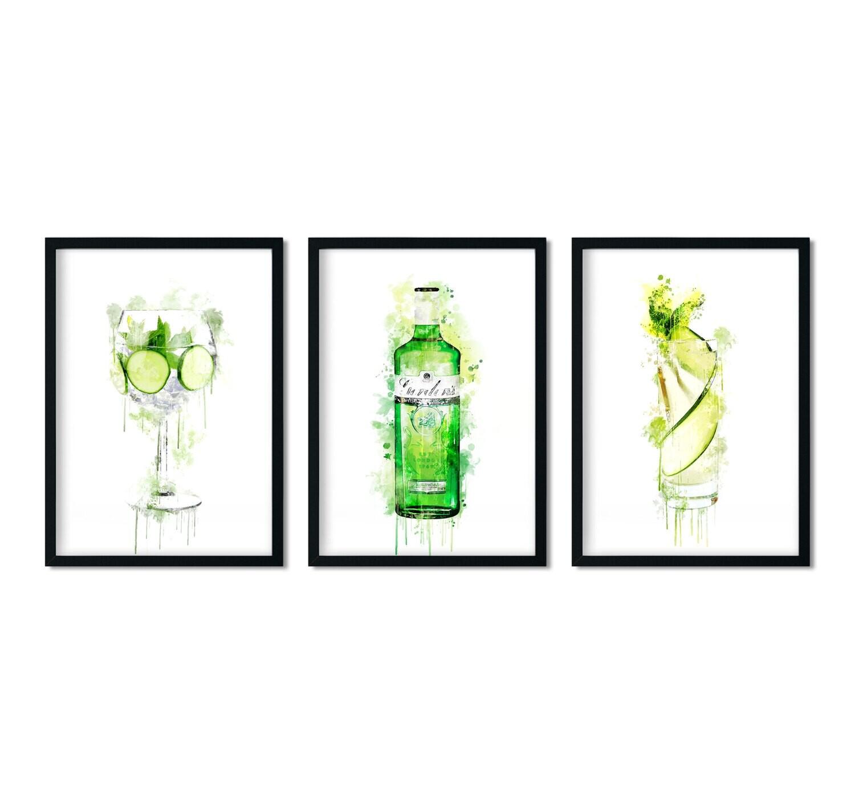 Trio of Gin Wall Art Prints