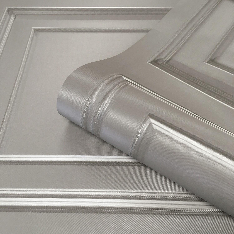 Amara Panelling Grey/Silver Wallpaper