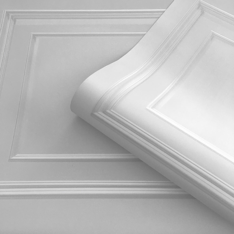 Amara Panelling Soft Silver Wallpaper