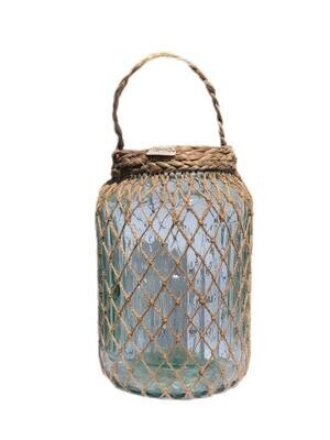 Glass Wicker Wrapped Lantern