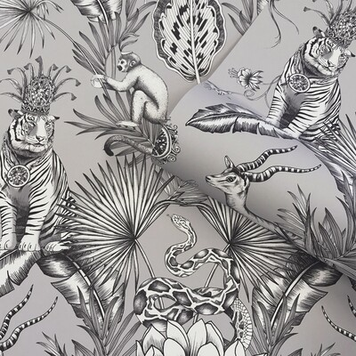 Menagerie Wallpaper - Grey/Silver