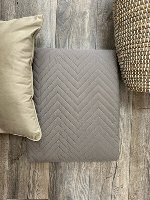 Taupe Quilt Throw with Herringbone pattern